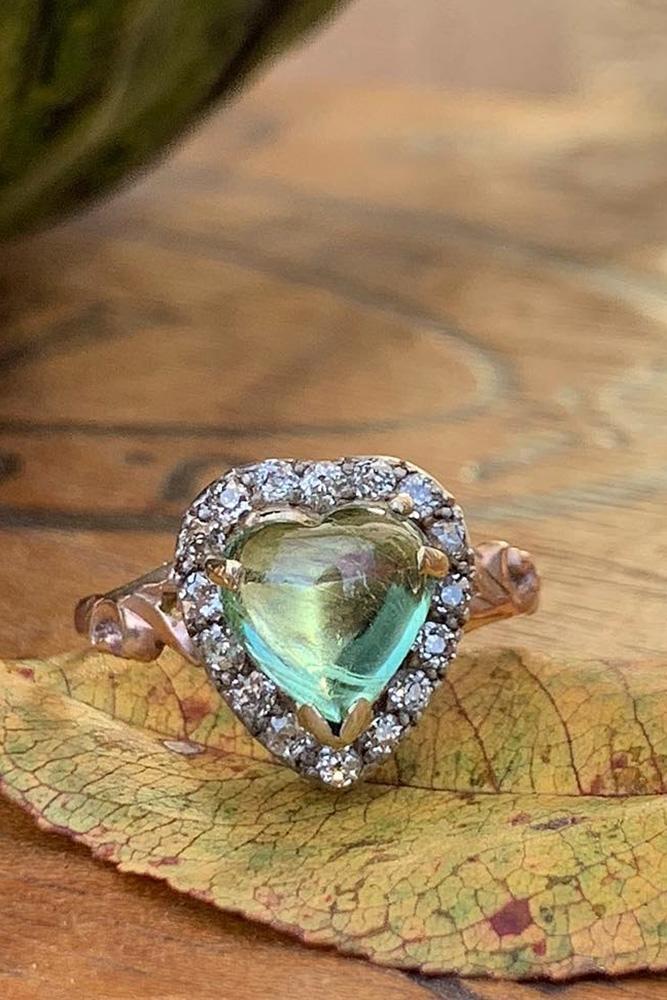 colored engagement rings unique engagement rings turmaline engagement rings heart cut engagement rings halo engagement rings