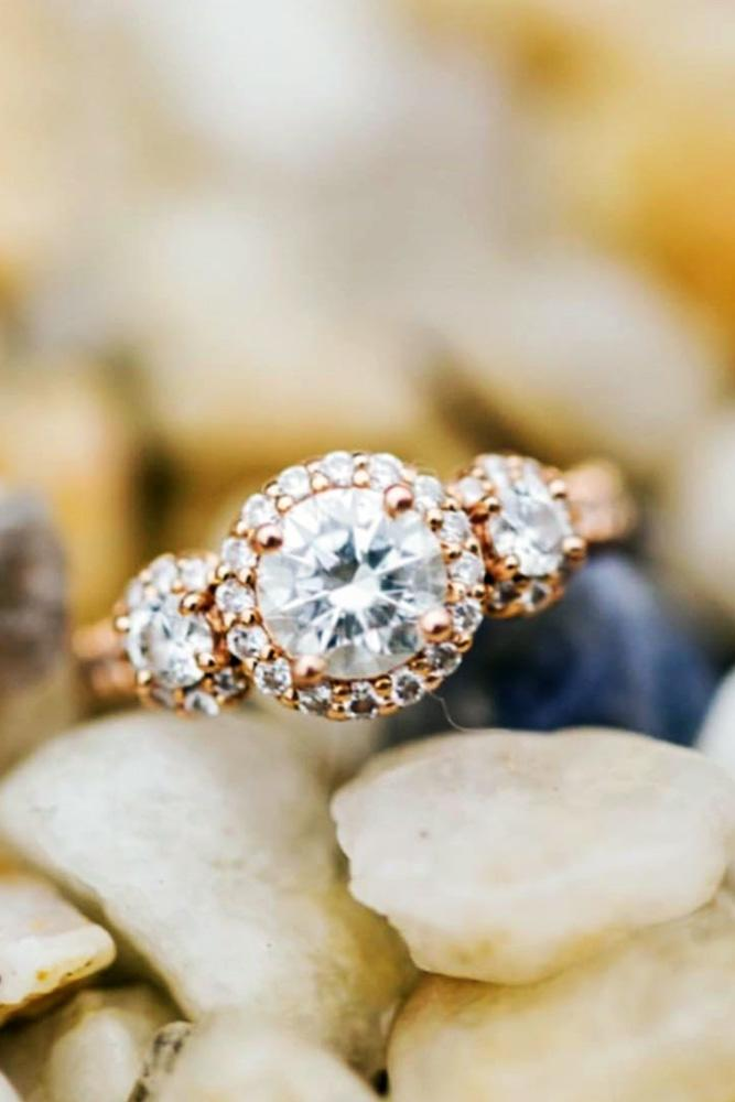 diamond engagement rings rose gold engagement rings halo engagement rings round cut engagement rings three stone engagement rings