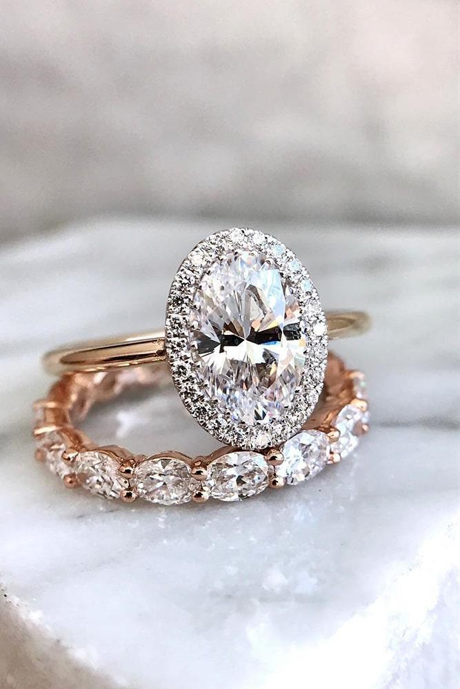 oval cut engagement rings rose gold wedding ring sets halo engagement rings diamond wedding rings