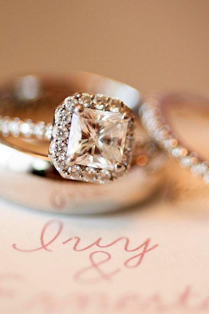 princess cut engagement rings white gold engagement ring halo ring bridal sets