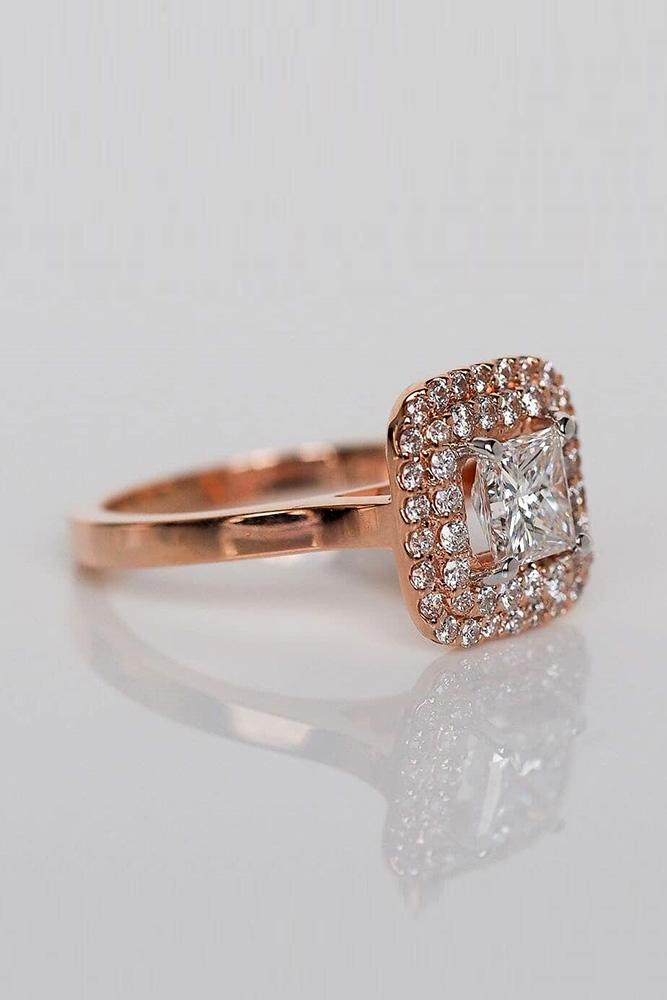 princess cut engagement rings rose gold engagement ring double halo ring