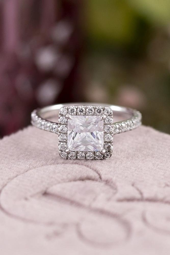 princess cut engagement rings white gold engagement ring halo ring classic ring