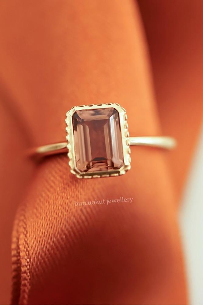 rose gold engagement rings colored engagement rings turmaline engagement rings emerald cut engagement rings