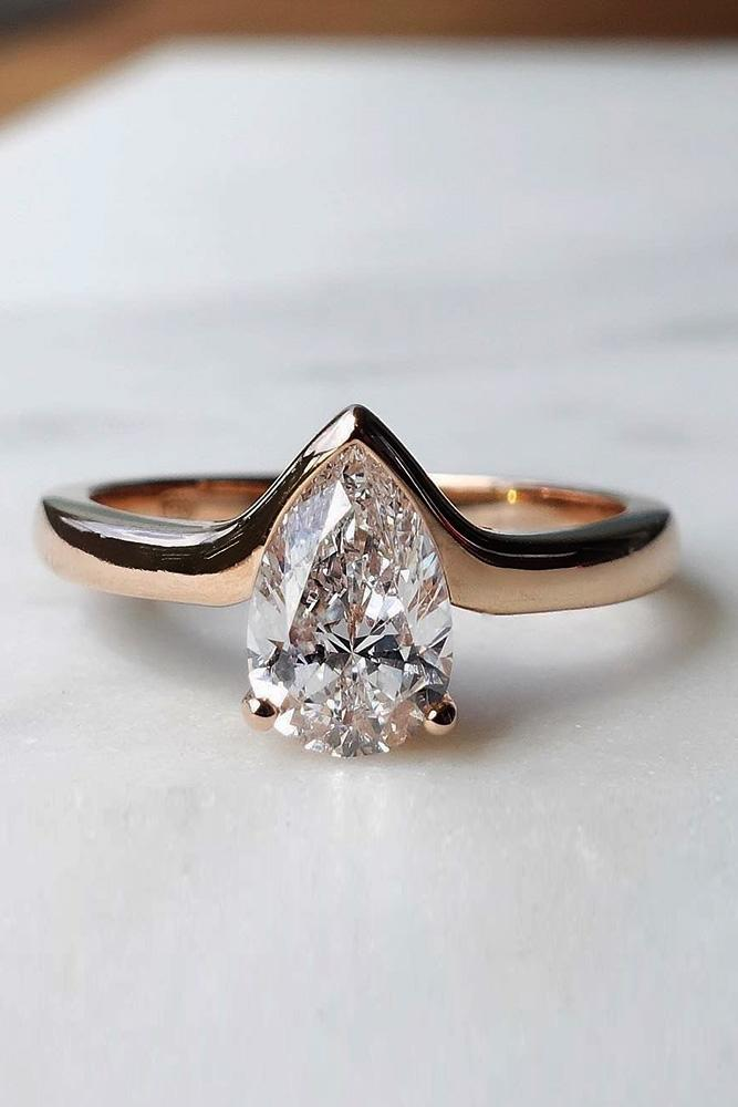 rose gold engagement rings solitaire engagement rings simple engagement rings pear cut engagement rings diamond rings