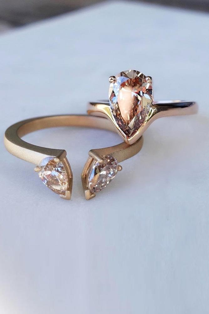 rose gold engagement rings wedding ring sets gemstone wedding ring sets pear cut rings