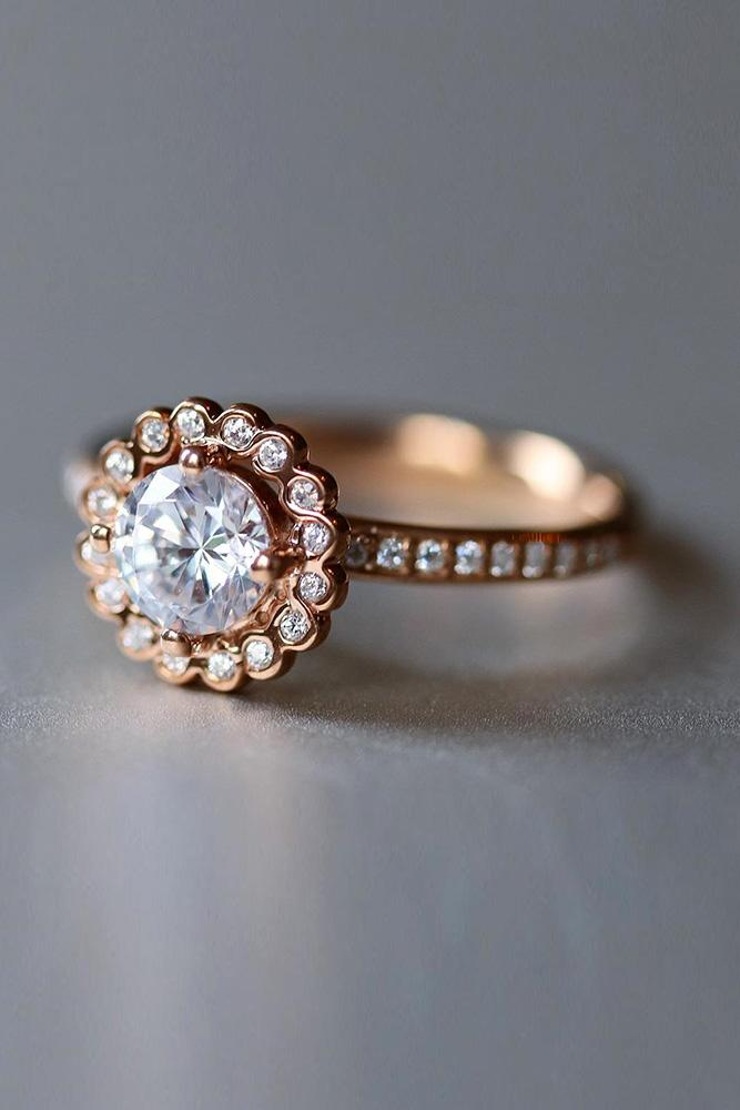 rose gold unique engagement rings floral engagement rings diamond engagement rings round engagement rings halo engagement rings