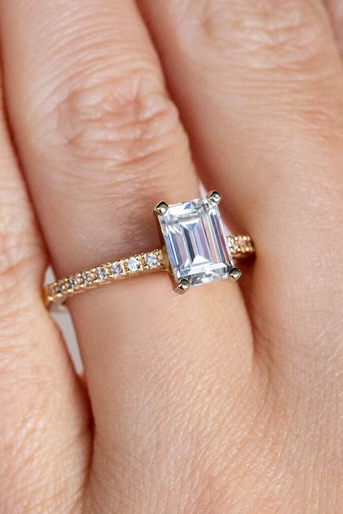 simple engagement rings rose gold engagement rings emerald cut engagement rings classic enagagement rings pave band