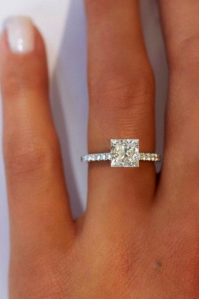 simple engagement rings white gold engagement rings best rings classic rings pave band princess cut rings