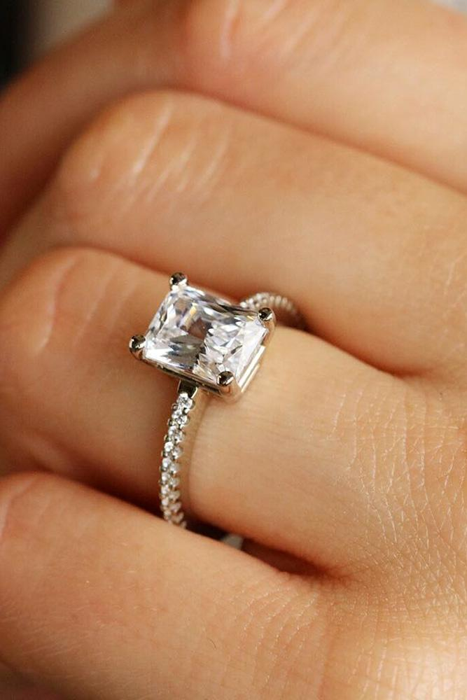 simple engagement rings white gold engagement rings emerald cut diamond engagement rings pave band