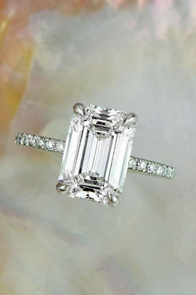 simple engagement rings white gold engagement rings emerald cut engagement rings classic enagagement rings pave band