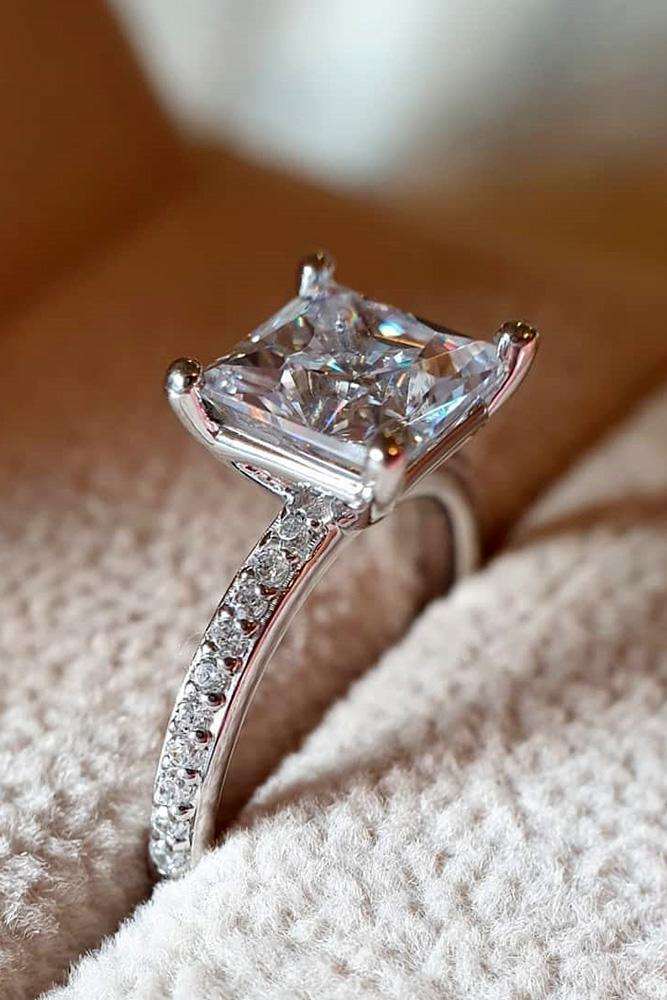 simple engagement rings white gold engagement rings princess cut engagement rings classic enagagement rings beautiful engagement rings pave band