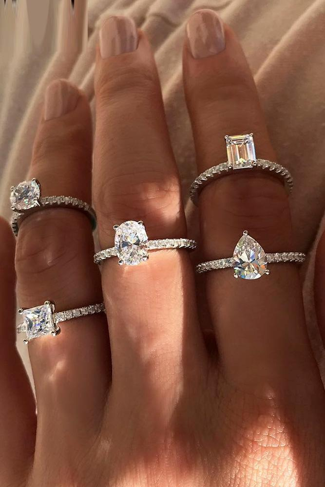 simple engagement rings white gold engagement rings round diamond engagement rings pave band