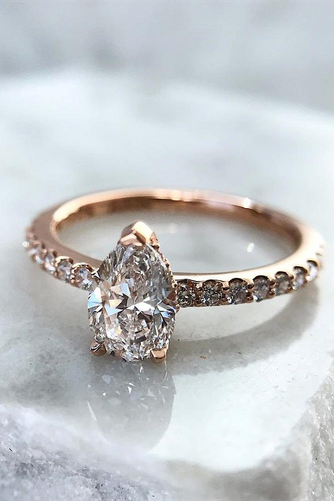 solitaire engagement rings pear cut engagement rings pave band rose gold engagement rings best rings