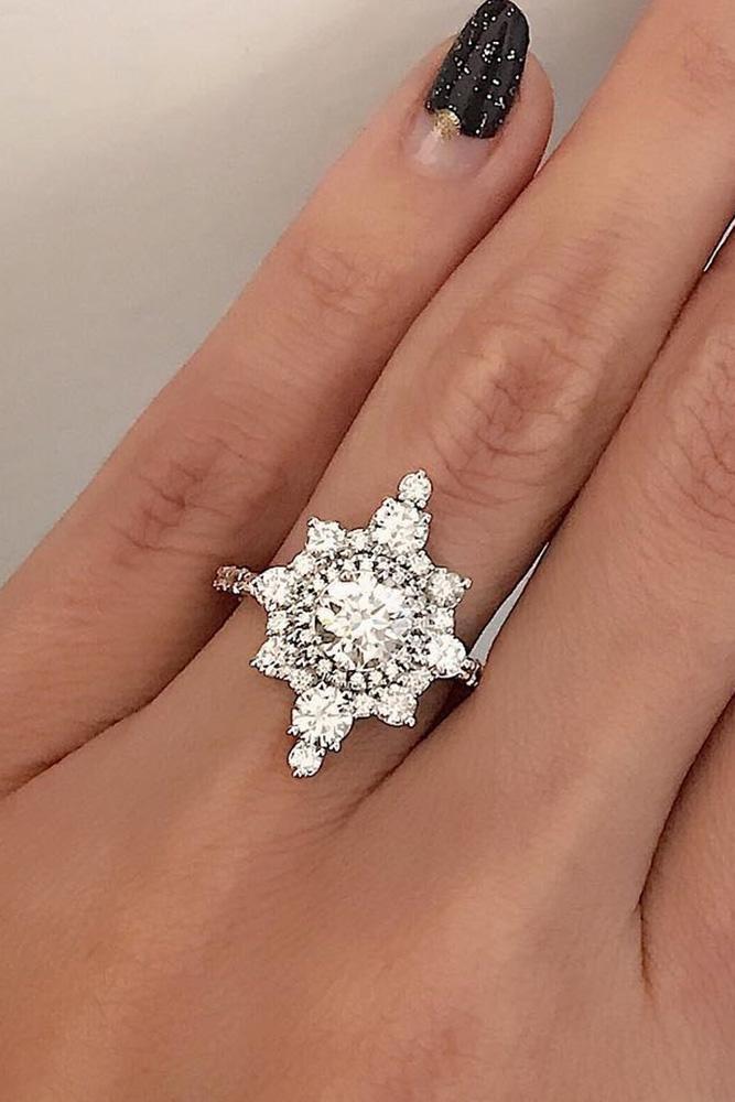 unique engagement rings diamond halo engagement rings white gold engagement rings floral engagement rings