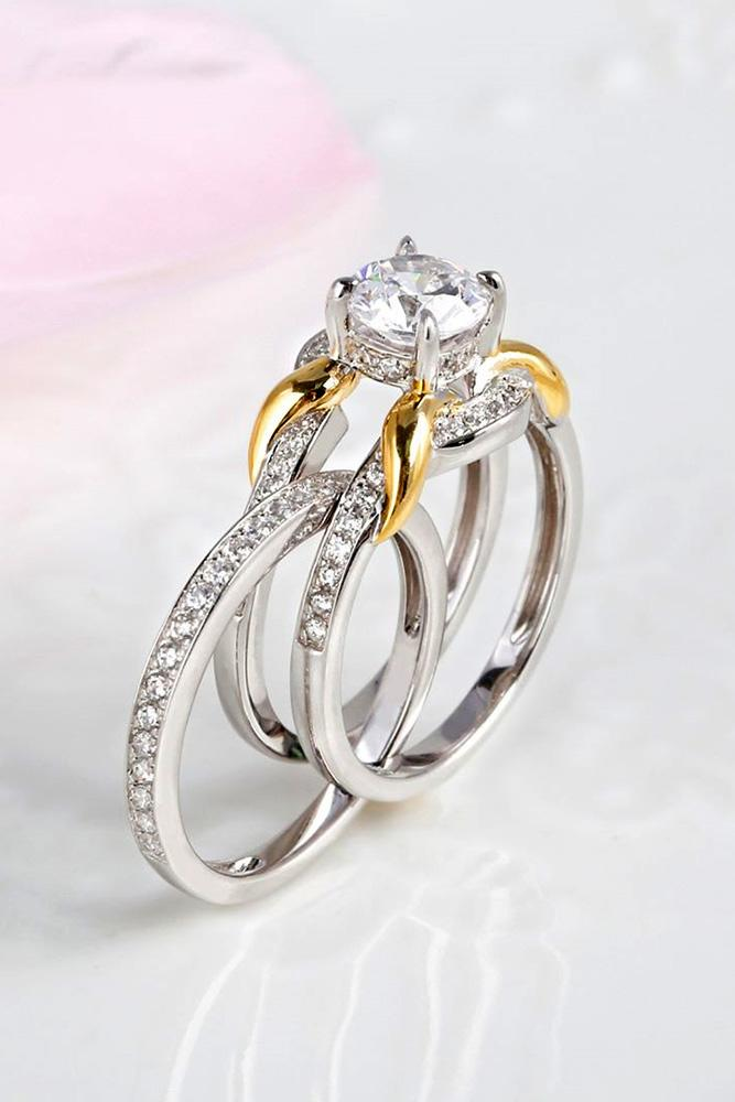 unique engagement rings white gold engagement rings diamond rings two tone rings