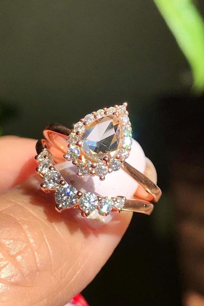 unique wedding rings wedding ring sets rose gold engagement rings halo engagement rings pear shaped engagement rings beautiful rings