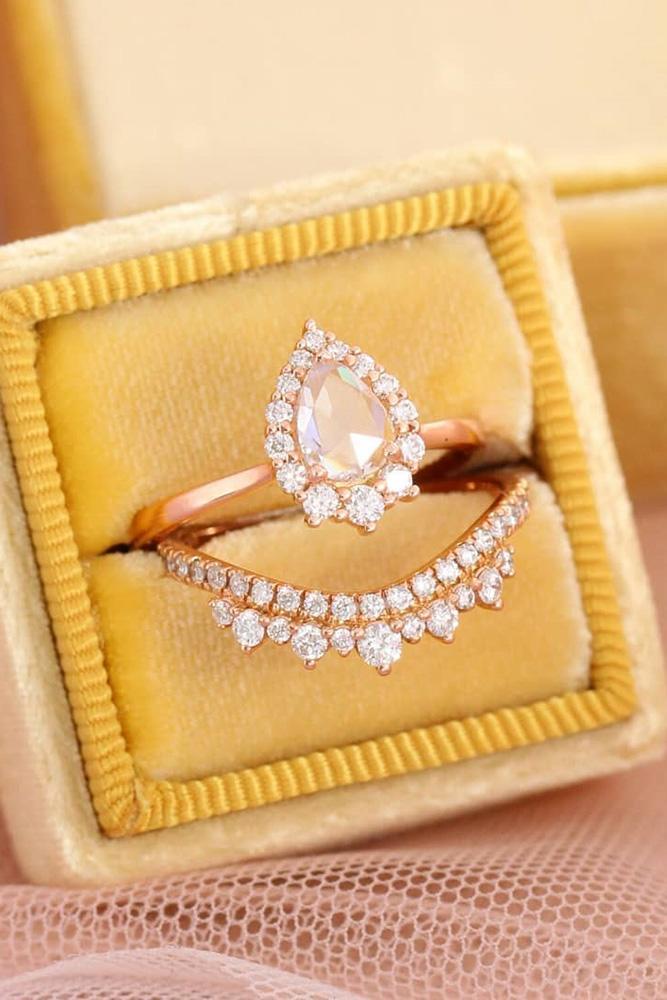 unique wedding rings wedding ring sets rose gold engagement rings halo engagement rings pear shaped engagement rings beautiful rings ring boxes
