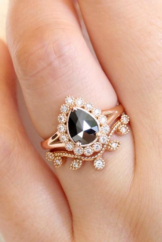 unique wedding rings wedding ring sets rose gold engagement rings halo engagement rings pear shaped engagement rings black diamond rings