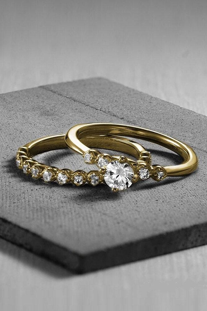 wedding ring sets yellow gold wedding ring sets round engagement rings diamond rings unique bridal sets