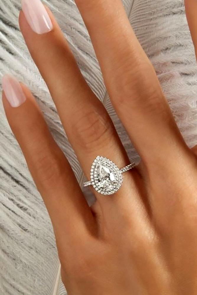 white gold engagement rings pear cut engagement rings diamond engagement rings double halo engagement rings