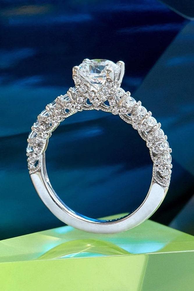 white gold engagement rings unique engagement rings round cut engagement rings pave band
