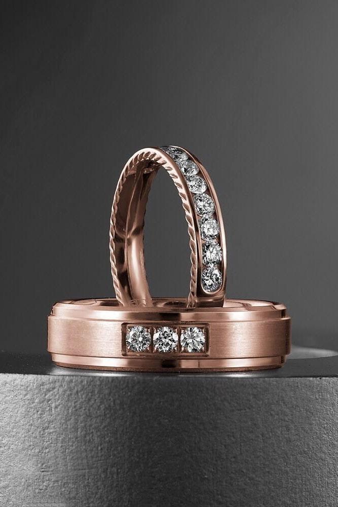 matching wedding bands rose gold wedding rings bridal sets rose gold bridal sets diamond rings