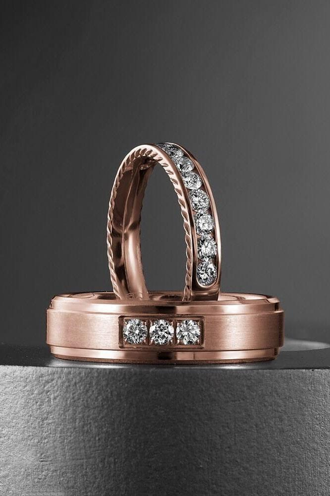 mens wedding bands bridal sets rose gold bridal sets diamond rings round engagement rings for him and for her