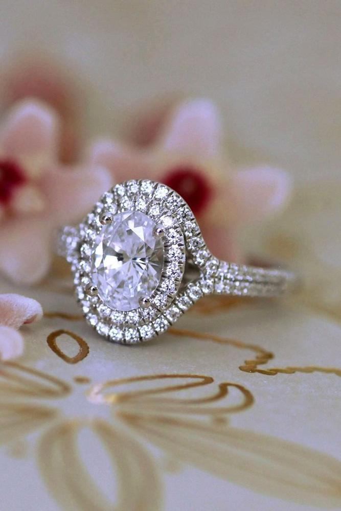 diamond engagement rings double halo engagement rings oval cut engagement rings white gold engagement rings