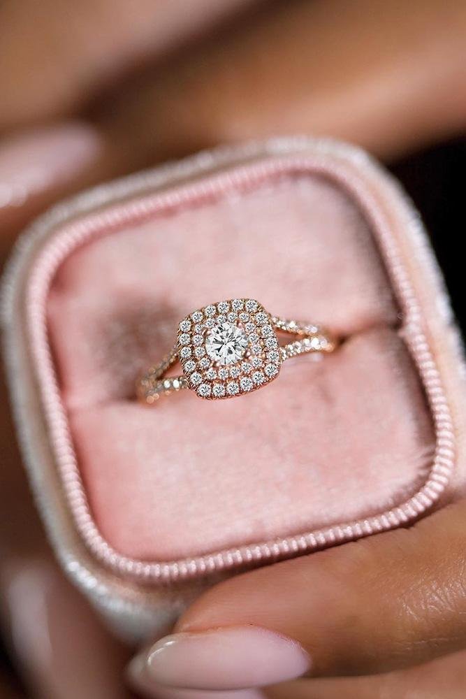 diamond engagement rings double halo engagement rings round diamond engagement rings rose gold engagement rings ring boxes