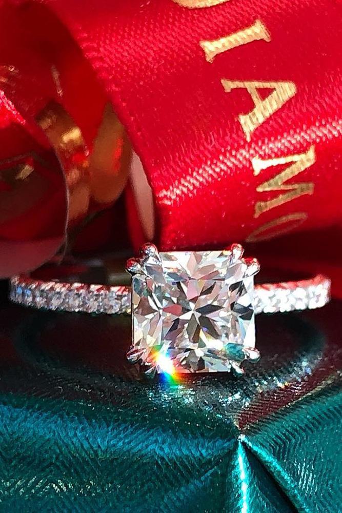 diamond engagement rings white gold engagement rings cushion cut engagement rings simple rings pave band