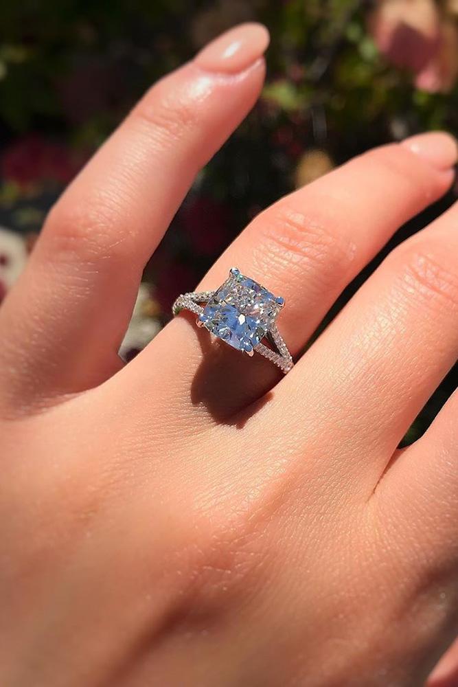 diamond engagement rings white gold engagement rings cushion cut engagement rings simple rings pave band split shank