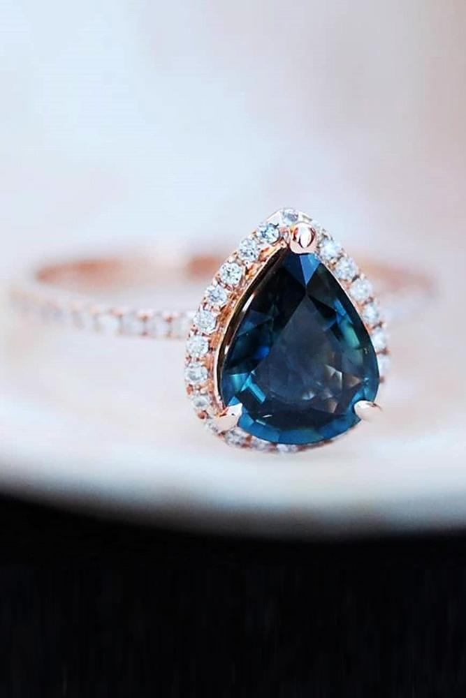 sapphire engagement rings rose gold engagement rings pear shaped engagement rings diamond halo engagement rings pave band blue sapphire rings