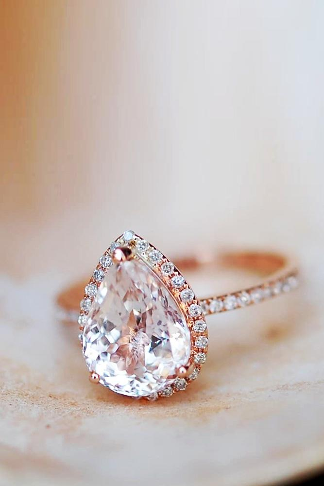 sapphire engagement rings rose gold engagement rings pear shaped engagement rings diamond halo engagement rings pave band pink sapphire rings