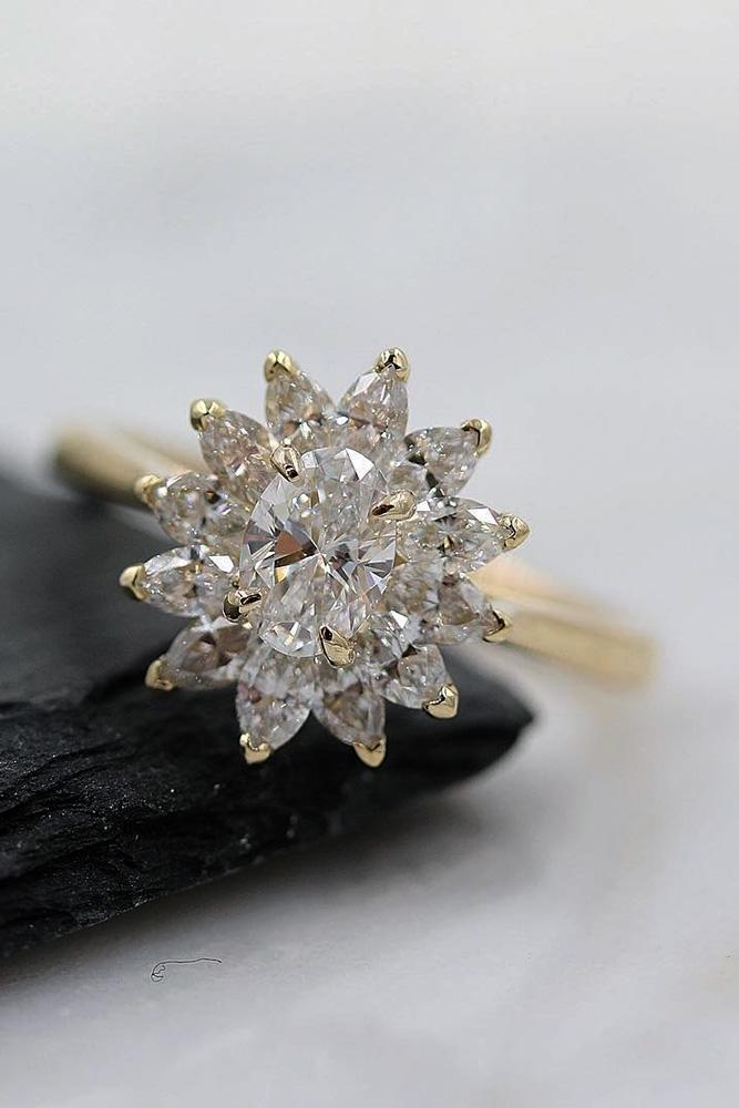 unique engagement rings diamond engagement rings rose gold engagement rings oval cut engagement rings floral rings