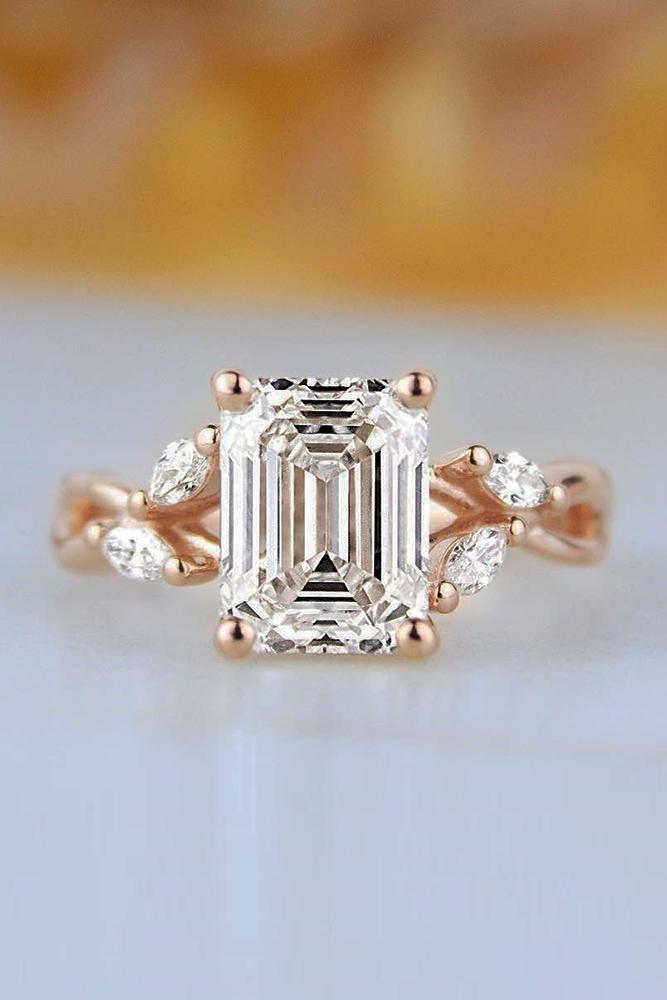 unique engagement rings floral engagement rings diamond engagement rings emerald cut engagement rings rose gold engagement rings