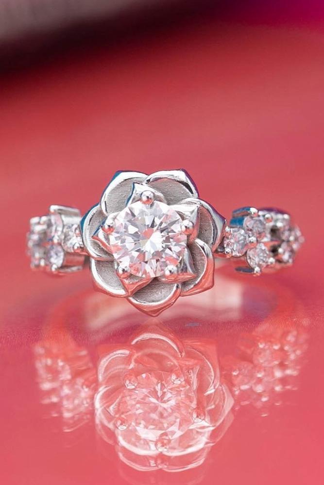 unique engagement rings white gold engagement rings diamond engagement rings round engagement rings floral engagement rings