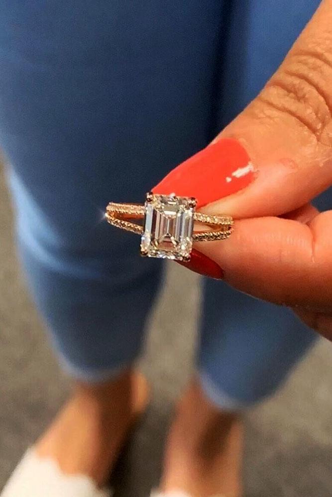 diamond engagement rings emerald cut diamond engagement rings rose gold engagement rings split shank engagement rings