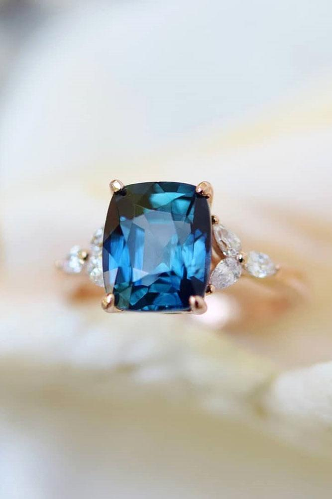 sapphire engagement rings rose gold engagement rings floral engagement rings blue sapphire rings diamond rings