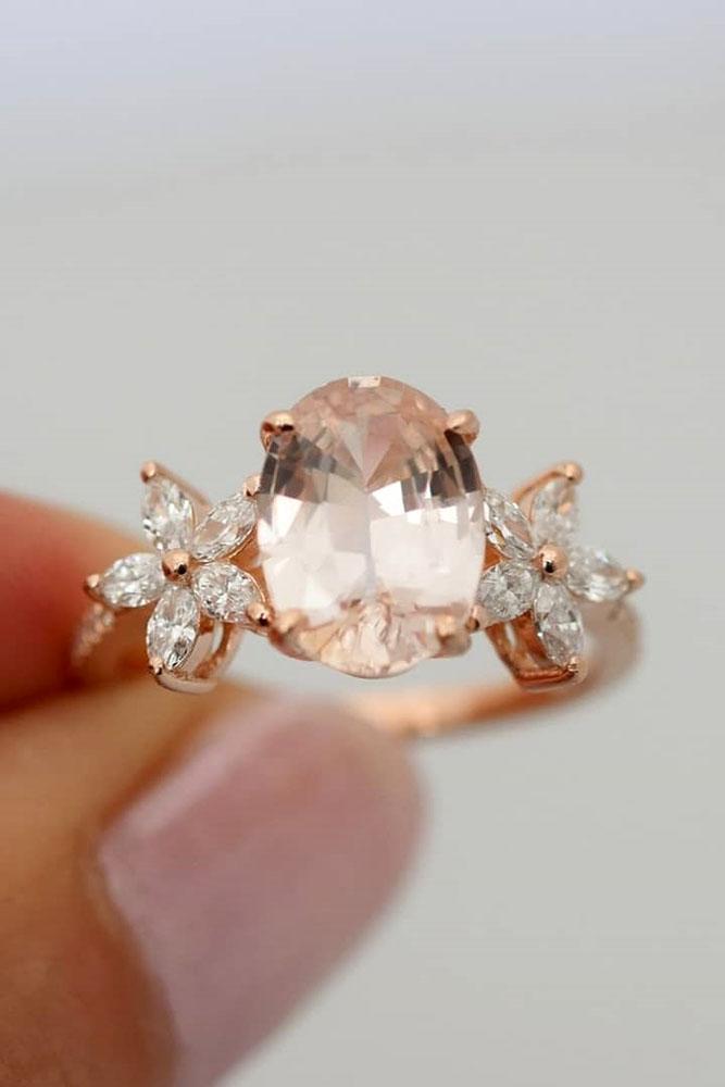 sapphire engagement rings rose gold engagement rings floral engagement rings pink sapphire rings diamond rings