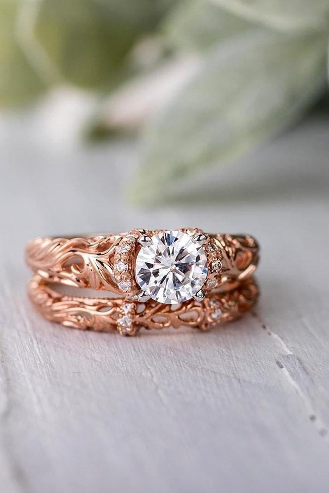 unique engagement rings rose gold engagement rings moissanite engagement rings unique pave band floral engagement rings
