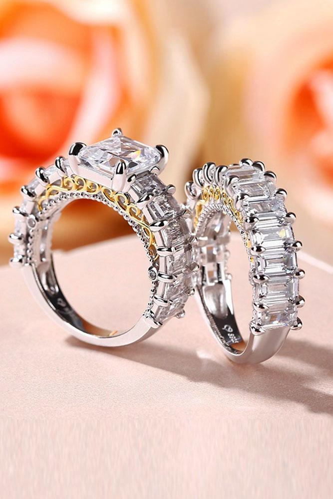 unique engagement rings white gold engagement rings diamond engagement rings unique pave band