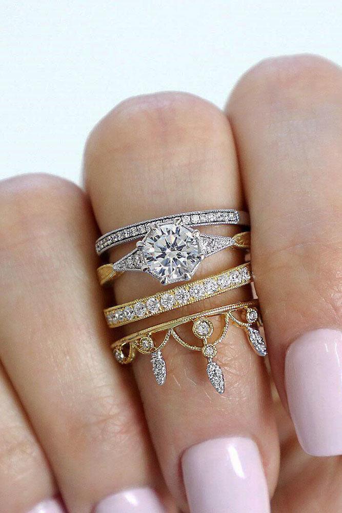 unique wedding rings two tone wedding rings bridal set diamond engagement rings unique engagement rings round engagement rings