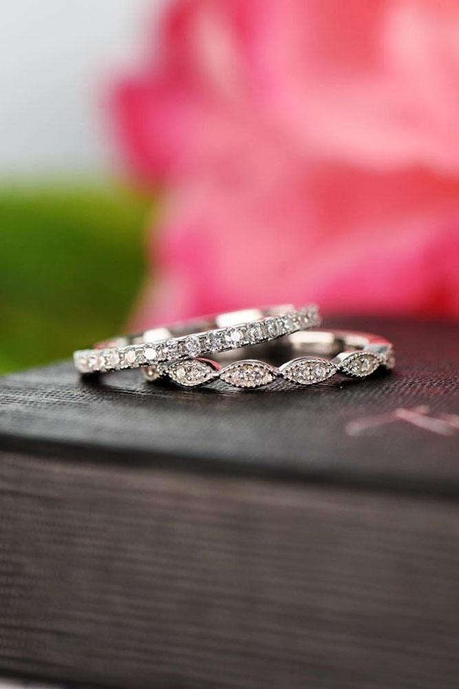 unique wedding rings white gold wedding bands diamond wedding rings stackable engagement rings unique wedding bands