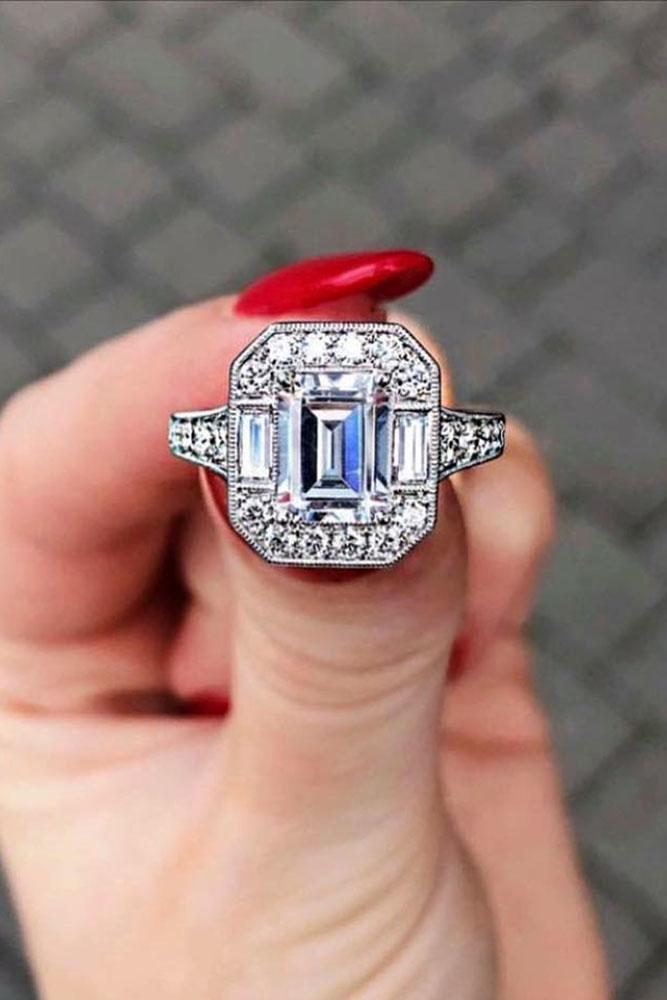 vintage engagement rings white gold engagement rings unique engagement rings emerald cut engagement rings diamond engagement rings