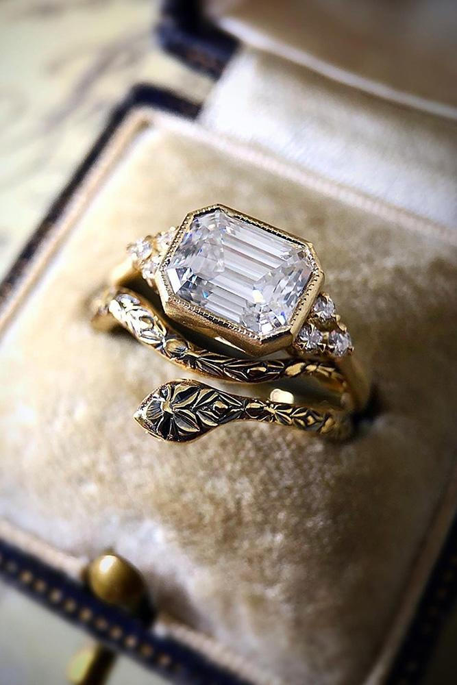vintage wedding rings rose gold wedding ring emerald cut diamond ring
