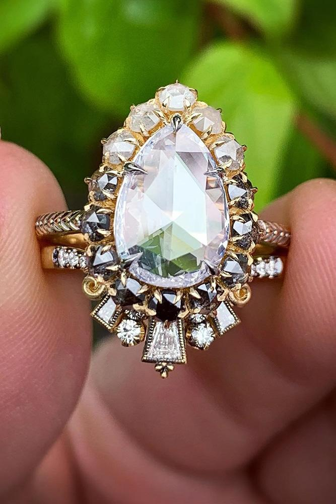 vintage wedding rings rose gold wedding ring pear shaped diamond ring