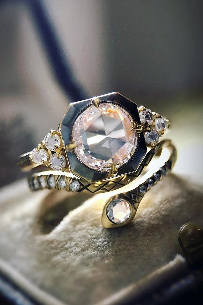 vintage wedding rings rose gold wedding ring round cut diamond ring unique ring