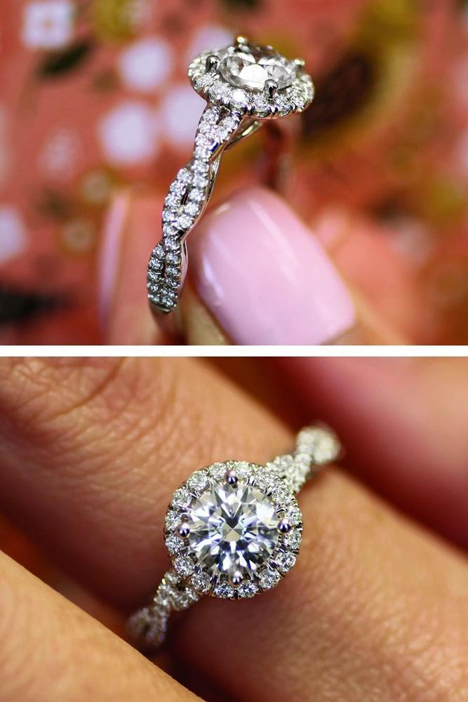 white gold engagement rings diamond engagement rings halo engagement rings round engagement rings Twisted bands