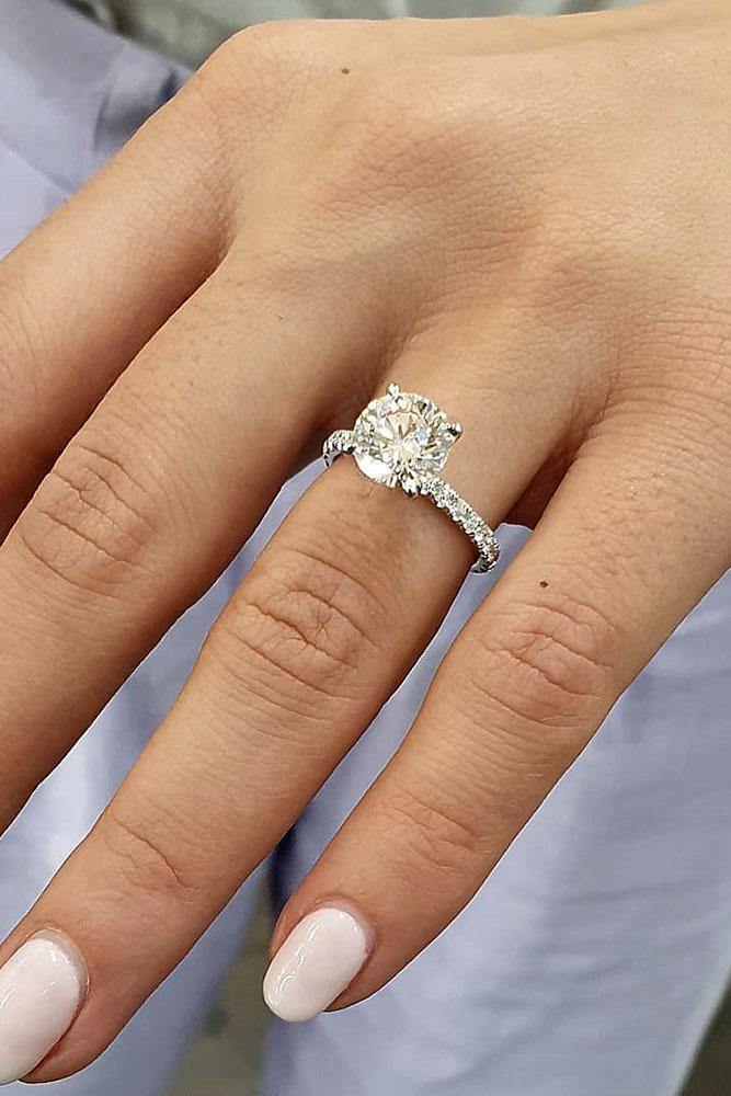 white gold engagement rings simple engagement rings diamond engagement rings round engagement rings pave band