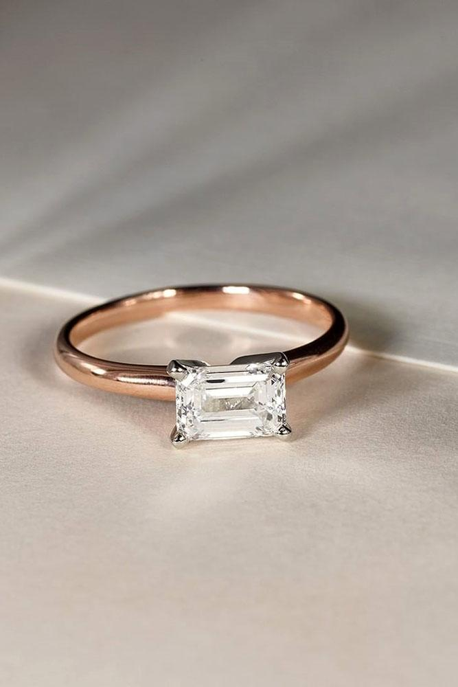 simple engagement rings rose gold engagement rings emerald cut diamond engagement rings solitaire engagement rings